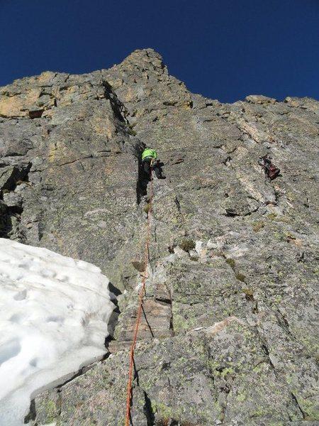 Rock Climbing Photo: 07-02-11 Sharkstooth NE Ridge P1