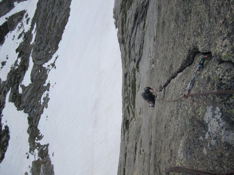 Rock Climbing Photo: Joe on the crux of the barb(10-) 7-4-11