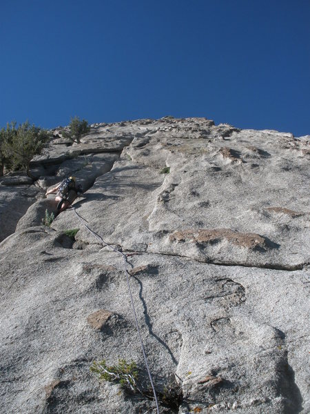 Steve starting the 2nd section of the climb, the right leaning groove of Wilson-Love.