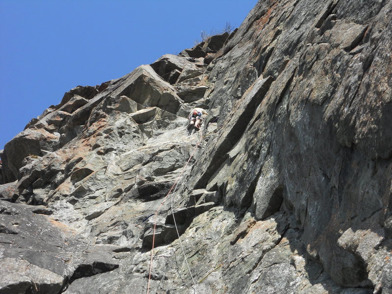 Just past the crux, near the middle of the route.