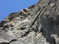 Rock Climbing Photo: Just past the crux, near the middle of the route.