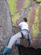 Rock Climbing Photo: Tony B on the crux opening moves on the FA of 'Eve...