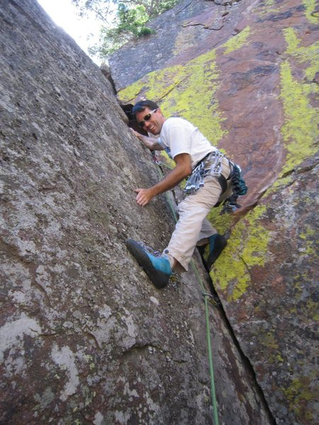 Rock Climbing Photo: Tony established on the bigger holds on 'Everybody...