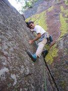 Rock Climbing Photo: Tony established on the bigger holds on 'Everybody...
