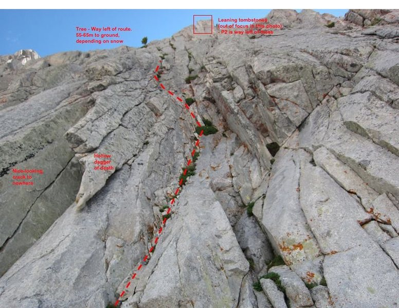 A photo taken at the base of the route, showing a few notable features to get your bearings.  Don't worry, it looks a lot better than this once you get beyond the first 40 feet.