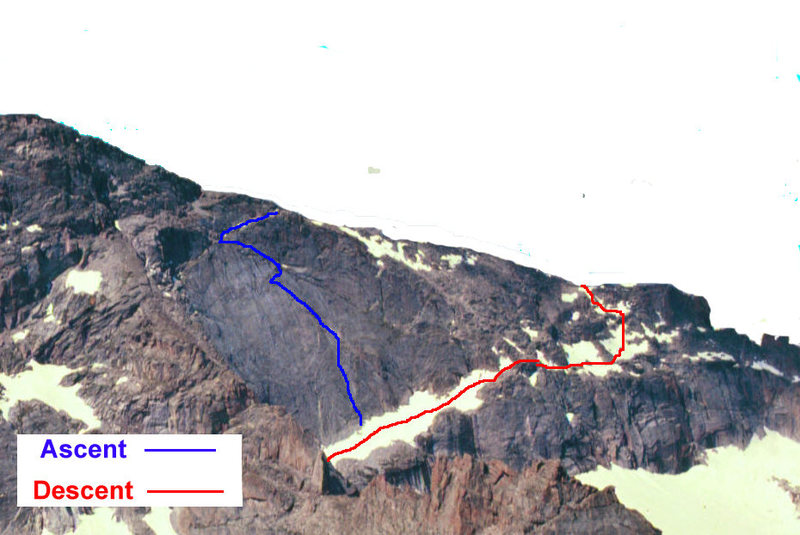 Photo of Chief's Head with Much Ado About Nothing climb and descent indicated.