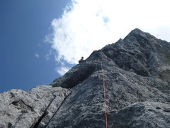 Rock Climbing Photo: Around the corner on P5