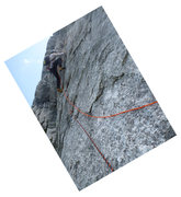 Rock Climbing Photo: After the traversing start of P3 (rotated to show ...
