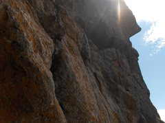 Rock Climbing Photo: the p2 5.7 PG traverse to the overhanging lip then...