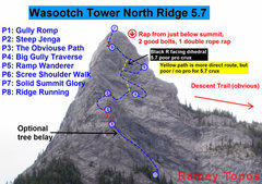 Rock Climbing Photo: A zoomed in version of the Wasootch Tower Topo. P5...