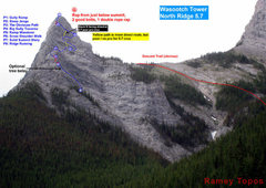 Rock Climbing Photo: Wasootch Tower, North Ridge (5.7) topo - Full View