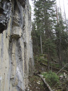 Rock Climbing Photo: Profile shot of West end of Blue Marble Wall (stor...