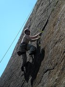 Rock Climbing Photo: Climber midway on Veracity, about to move back lef...