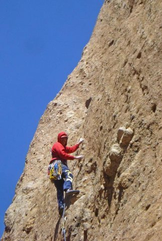 """Rock Climbing Photo: Climber on the steep upper headwall of """"Middl..."""