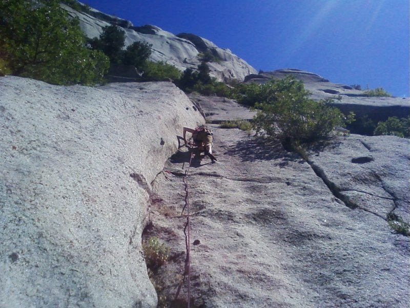 Getting my trad lead on for the first time at the Black Peeler Buttress