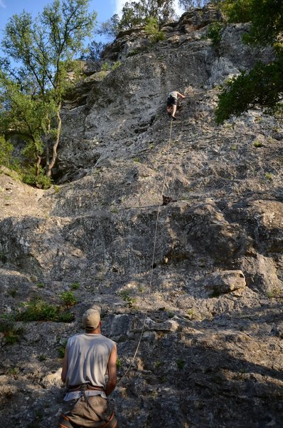 Rock Climbing Photo: Sleep Deprivation late in the day.  Gabe climbing,...