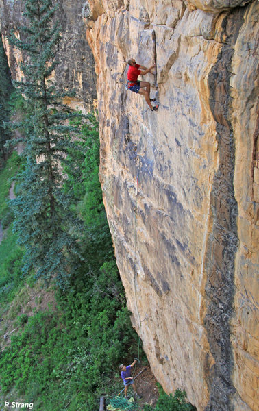 Rock Climbing Photo: Alex climbs the fun layback before the crux during...