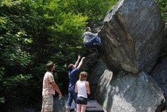 Rock Climbing Photo: Jakob heading up Pacman.  Classic