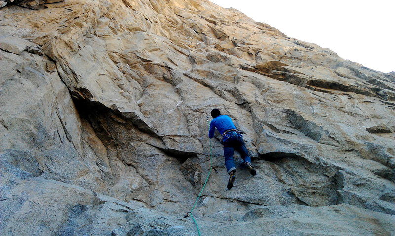 Rock Climbing Photo: Entering lower crux sequence of Leviathan (5.11d).
