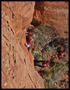 Rock Climbing Photo: Catherine leading pitch 1 of Black Arrow with Mann...