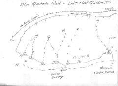 Rock Climbing Photo: # 1 TOPO  Blue Quartzite Wall  Left Most Quadrant