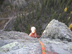 Rock Climbing Photo: Jamie A., his 1st time up this conn classic
