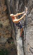 Rock Climbing Photo: The thin face eases towards the top & becomes fun ...