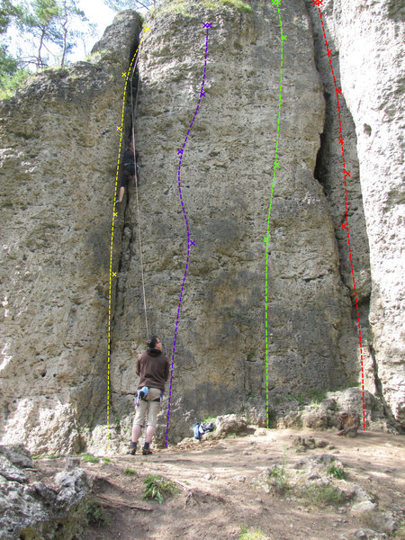 Rock Climbing Photo: The yellow route is R 3, blue is Boulderwandl, gre...