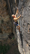 Rock Climbing Photo: Alex Scott in the middle of the Awesome black face...