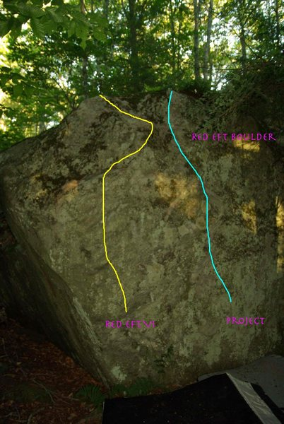 Red Eft is the Yellow left hand route.  Blue route to the right is a V3 called Green Eft.