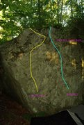 Rock Climbing Photo: Red Eft is the Yellow left hand route.  Blue route...