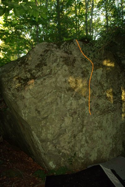 Second route from corner on Red Eft Boulder