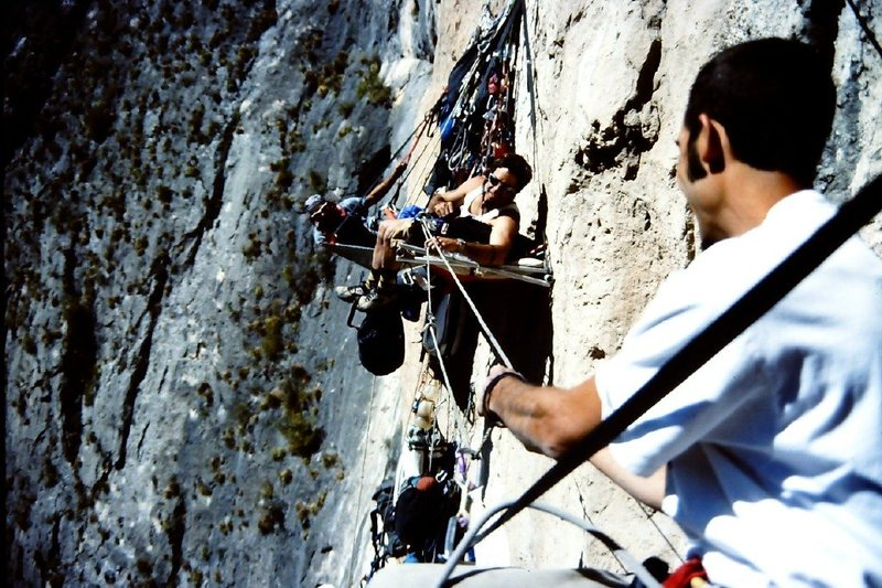 Rodman and Kurt Smith pass the peace pipe high on the Outrage Wall, El Potrero Chico.