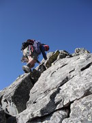 Rock Climbing Photo: Ascending the summit ridge just after toping out o...