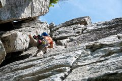 Rock Climbing Photo: Mike leading the blocky last pitch of Le Gourmet