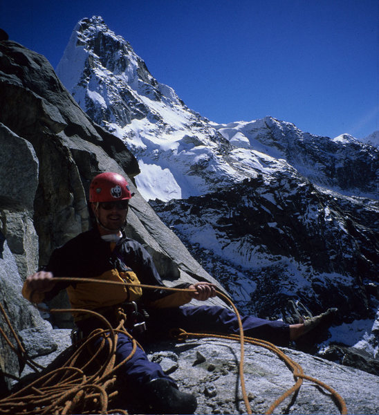 Rock Climbing Photo: Cameron Tague near route's summit
