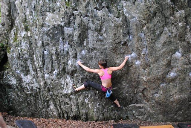 Rock Climbing Photo: Hannah having fun on the traverse