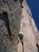 Rock Climbing Photo: Bruce Miller leading the 4th pitch.