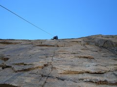 Rock Climbing Photo: Chris Weidner leading the crux 7th pitch. Steep!