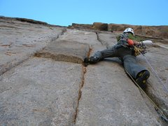 Rock Climbing Photo: Bruce Miller on the sustained cracks (11b) of pitc...