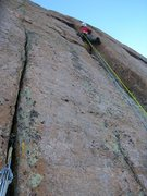Rock Climbing Photo: Bruce Miller leading the final offwidth to the top...