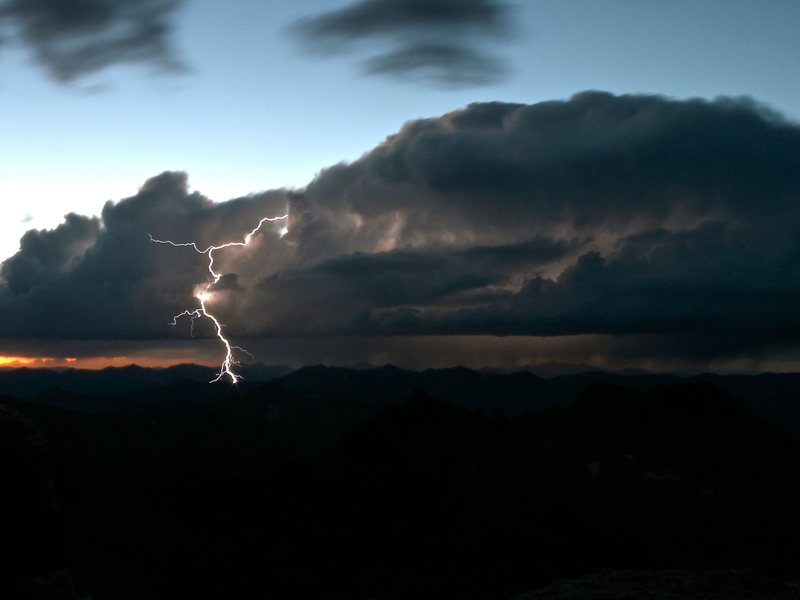 Storm to the north of Long's Peak, taken from our bivy at Chasm View.<br> <br> Photo: C. Weidner.