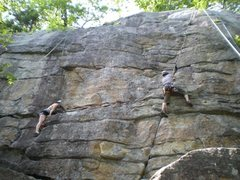 Rock Climbing Photo: Climbers on The Flake (left) and Ken's Crack (righ...
