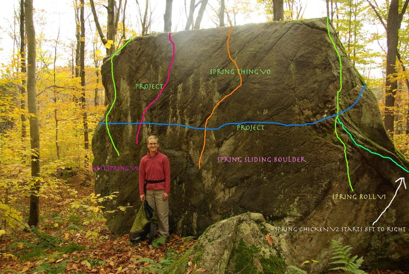 Rock Climbing Photo: Green route to the right of Spring Thing