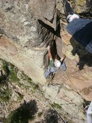 Rock Climbing Photo: Starting up the 2nd pitch. Pay no attention to tha...