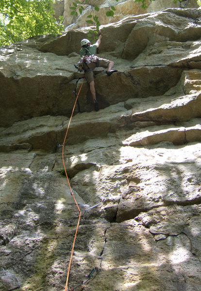The crack that runs through the overhangs provides great opportunities to gear up.