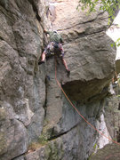 Rock Climbing Photo: Get gear early...you're climbing above a chasm.