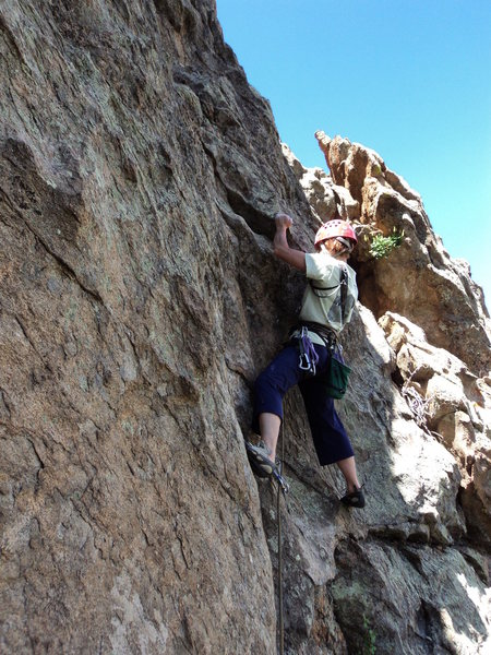 "Rock Climbing Photo: Deb starting the 5'5"" crux."
