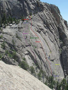 Rock Climbing Photo: Some Left Book routes, color coded....