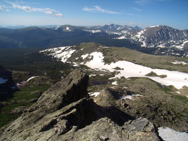 Looking back into Wild Basin from the Crescent Ridge.  Pagoda.  RMNP. July 14th 2011